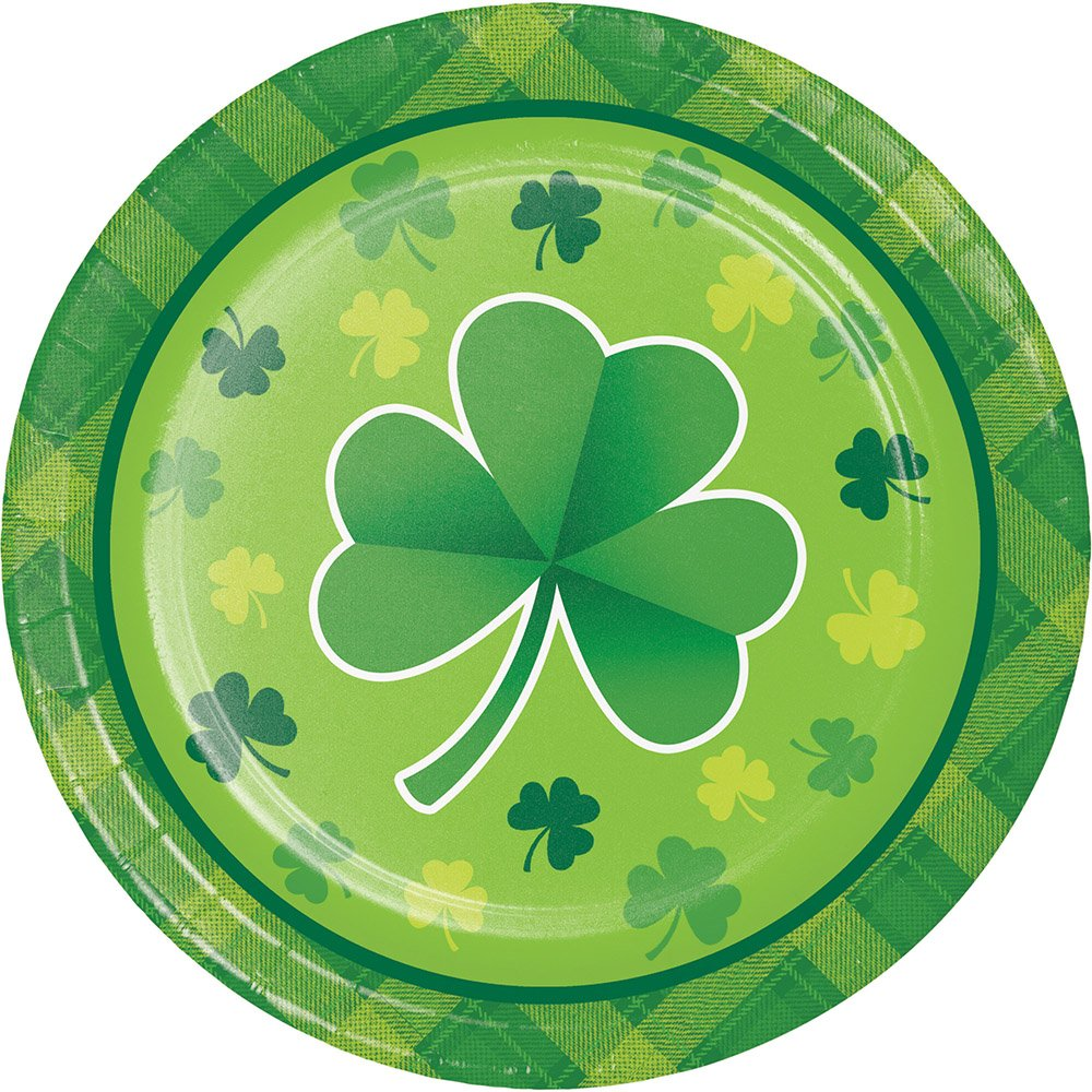 Creative Converting St. Patrick's Day Shamrock Plaid Dessert Plates 8 Count 327077