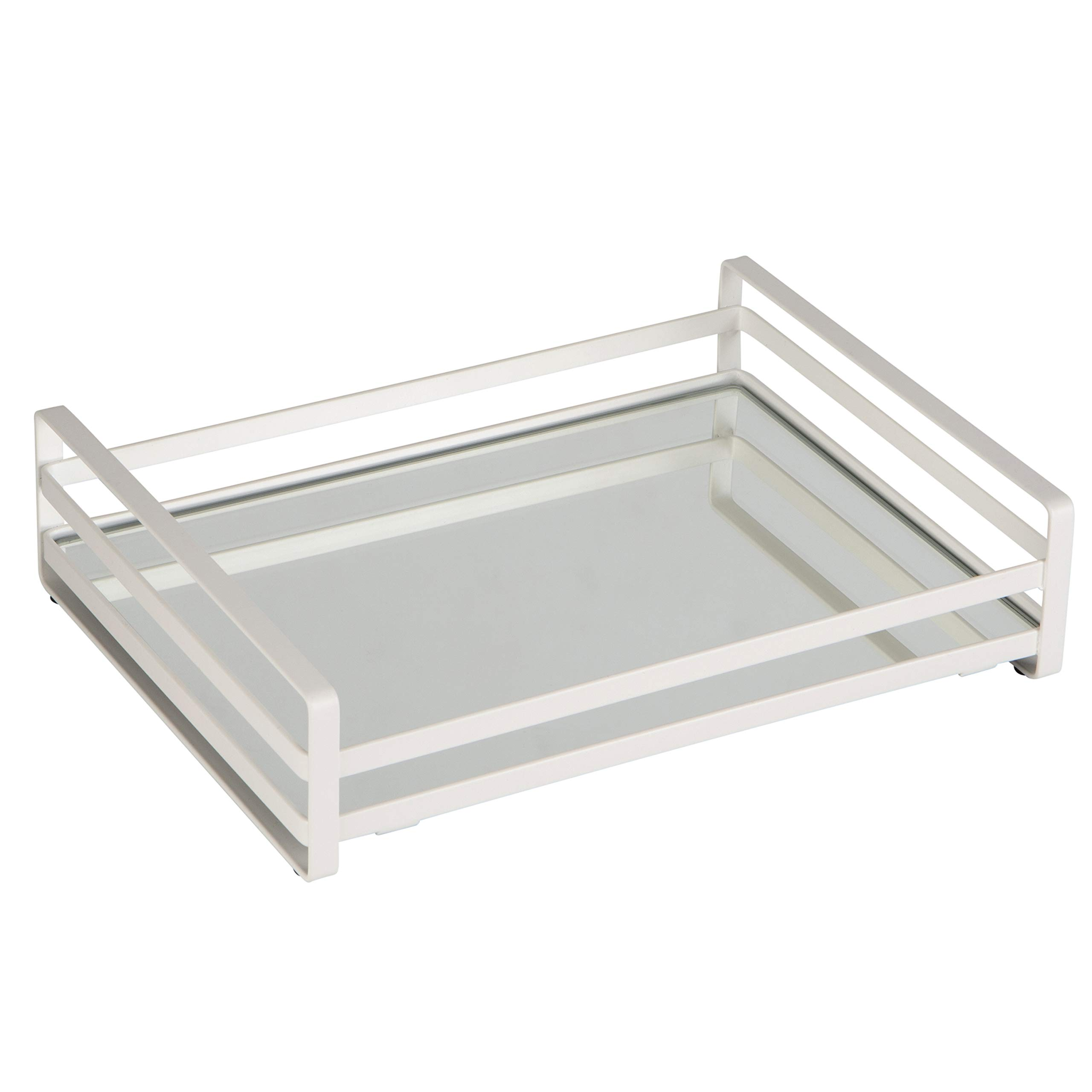 Home Details Flat Wired Rails Large Vanity Tray, Silver