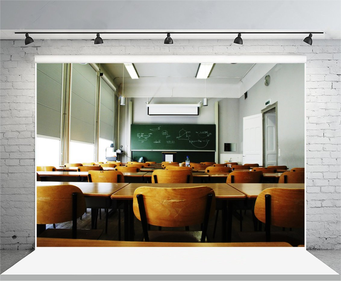 Laeacco The Classroom Backdrop 7x5ft Photography Background Blackboard School Class University Interior Empty Room Table Chairs Multimedia Technology Lights Lecture Students Photo Shoot