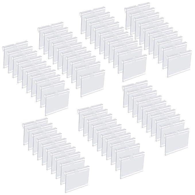 Matogle 70 pcs Porta Precios Transparente Soportes de Etiqueta de Precio Claro para Exhibición Titular para Tarjeta de Nombre Colgar en Estante de ...