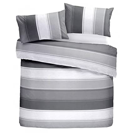 d45fd451b84d Fusion - Betley - Classic Wide Stripe Duvet Cover Set - Double, Grey ...