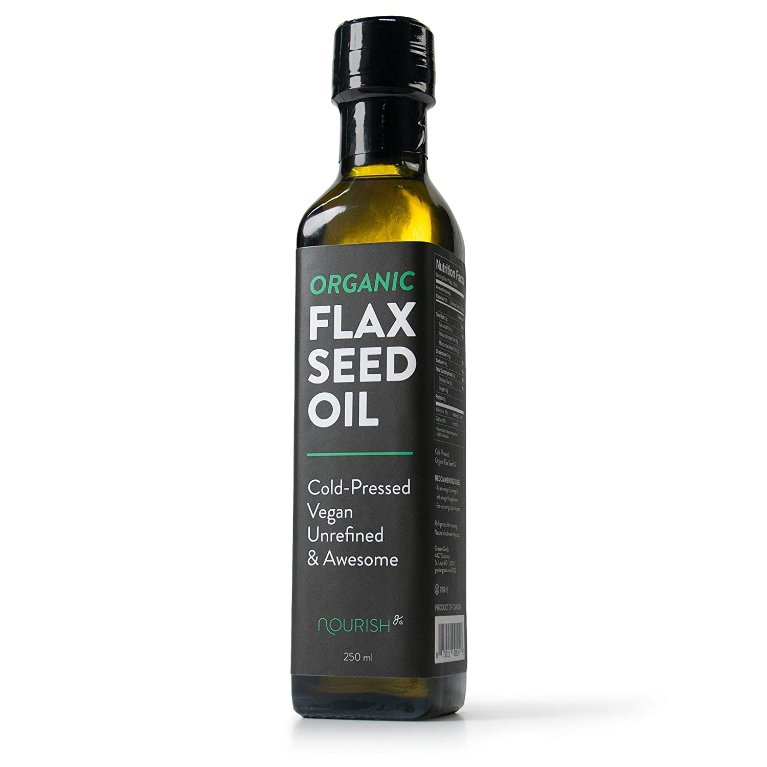 GreaterGoods Organic Flax Seed Oil 250ML, Cold-Pressed, Vegan, Unrefined, Multiple Use Capabilities (Flax Seed Bottle)