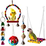 BWOGUE Bird Swing Toys with Bells Pet Parrot Cage Hammock Hanging Toy Perch for Budgie Love Birds Conures Small Parakeet…