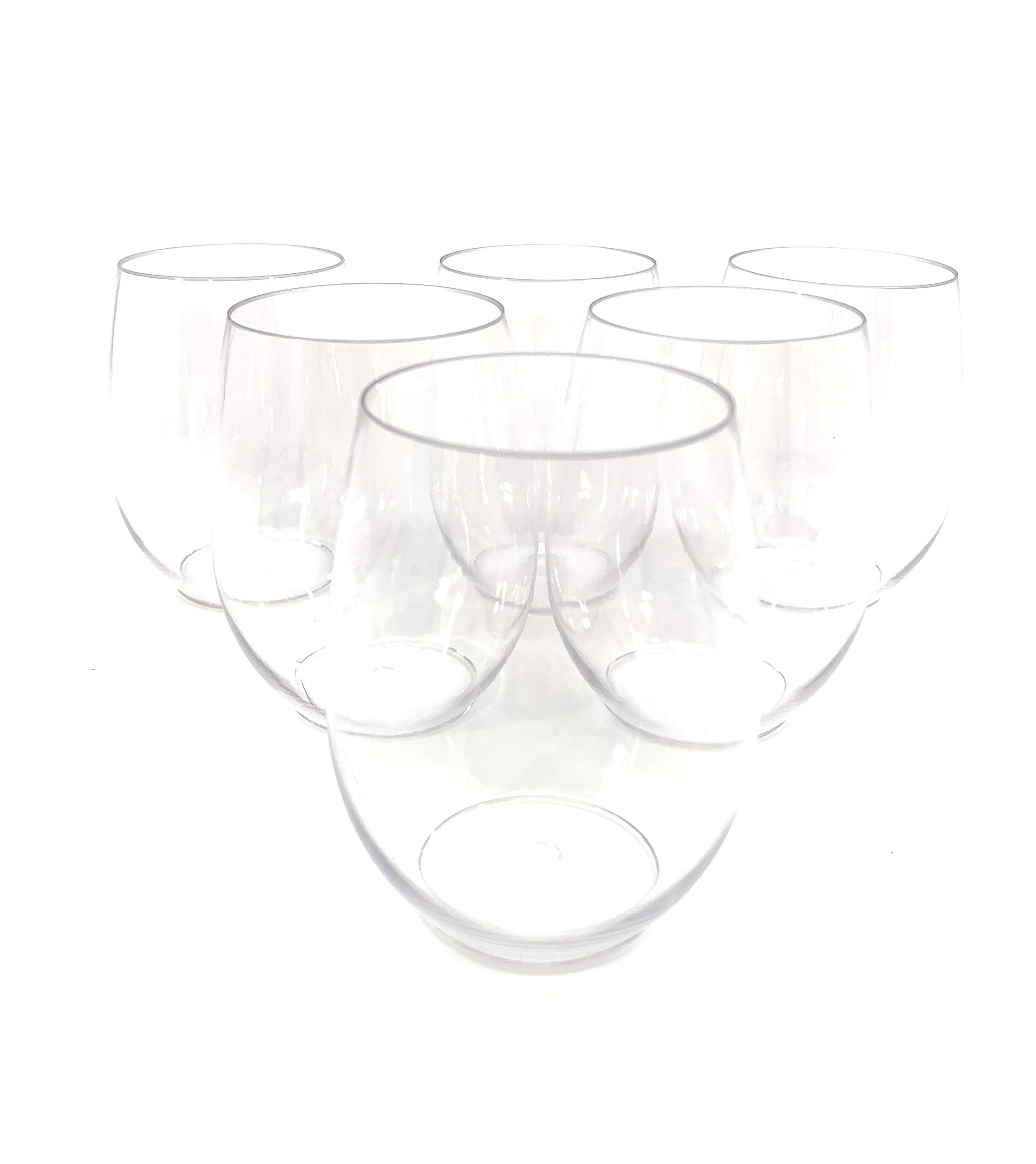48 piece Stemless Unbreakable Crystal Clear Plastic Wine Glasses Set of 48 (10 Ounces) by Oojami