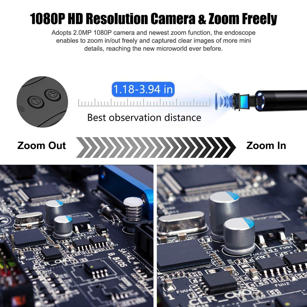 5M KZYEE 2.0 MP WiFi Endoscope 5.5mm 1080P HD Wireless Borescope Inspection Camera 2200mAh Battery Digital Zoom Reset Semi Rigid Cable for Smartphone Android iPhone