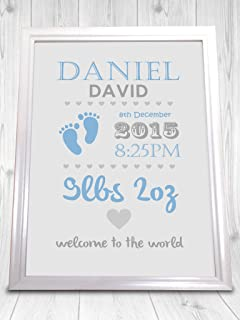 Missyjulia ltd new baby personalised print word art gift boy girl christening personalised print boy and girl perfect gift new baby present unframed negle