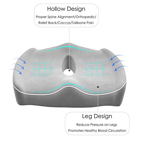 Amazon.com: Cojín de asiento Coccyx con espuma viscoelástica ...