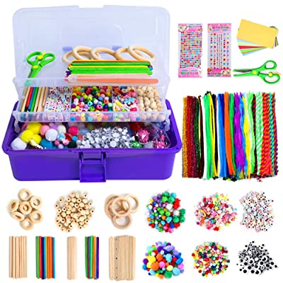 N&T NIETING 1358Pcs Craft Kits for Kids Ages 4-8, Art Craft Supplies Include Pipe Cleaners, Pom Poms, Feather and Felt, Foam Balls, Folding Storage Box - All in One DIY Toddler Crafts Set for School: Arts, Crafts & Sewing