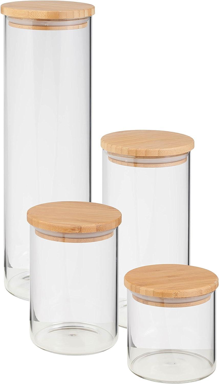 HoneyCanDo 4-Piece Glass Jar Storage Set, Bamboo Lids, 130 oz, Natural, 4