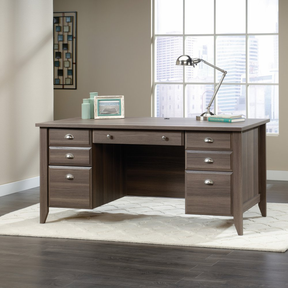 Sauder shoal creek executive desk in jamocha wood - Amazon Com Sauder Shoal Creek Executive Desk In Diamond Ash Office Products