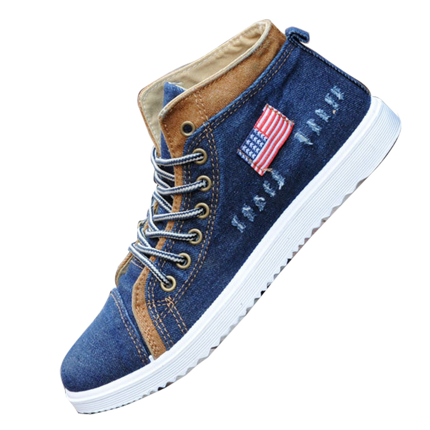 Gaorui Fashion Men's Canvas Shoes High Top Lace Up Sneakers Casual Students Sport Flats