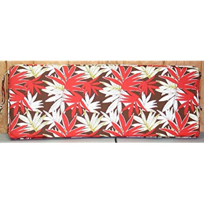 "Buffaloe Creek Sales Outdoor Patio Bench Cushion ~ Orange Palm Leaf ~ 17"" x 46"" x 2.75""New : Garden & Outdoor"