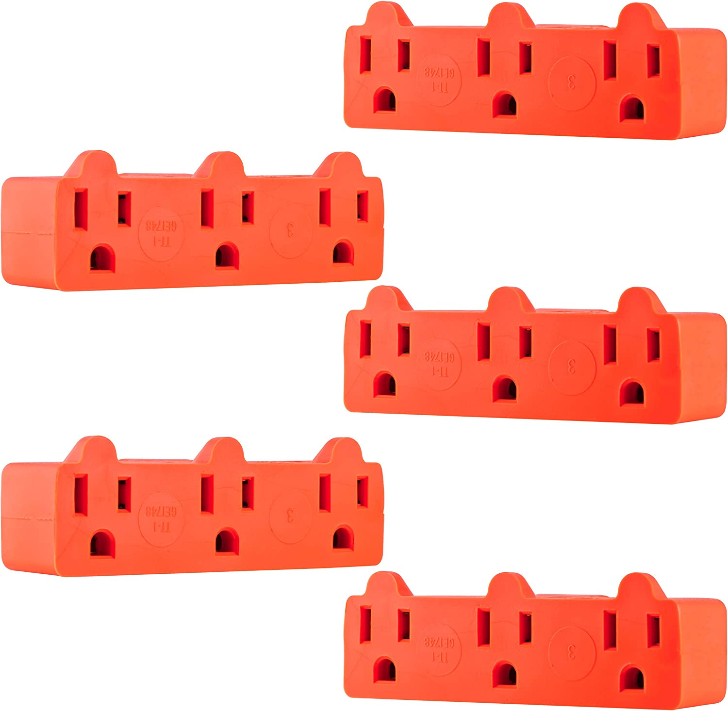 GE Heavy Duty 3 Outlet Adapter, 5 Pack, 3-Prong Power Splitter, Grounded Wall Tap, UL Listed, Orange, 50909