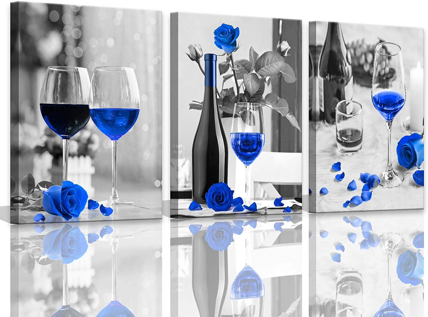 Kitchen Pictures Wall Decor Blue Artwork For Home Walls Decorations Black And White Bottle Red Rose Wine Glass 3 Pieces Canvas