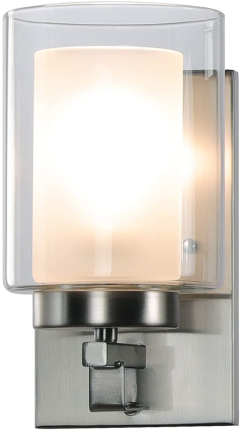 Indoor Modern Brushed Nickel Wall Mounted Light 2 Pack XB-W1195-1-2BN XiNBEi Lighting Wall Light 1 Light Bathroom Vanity Light with Dual Glass