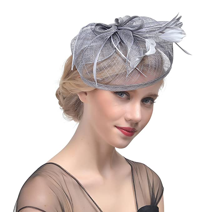YSJOY Vintage Feather Sinamay Mesh Bow Fascinator Derby Hat Bridal  Bridesmaids Church Tea Party Hair Clip bbe4dee8f75