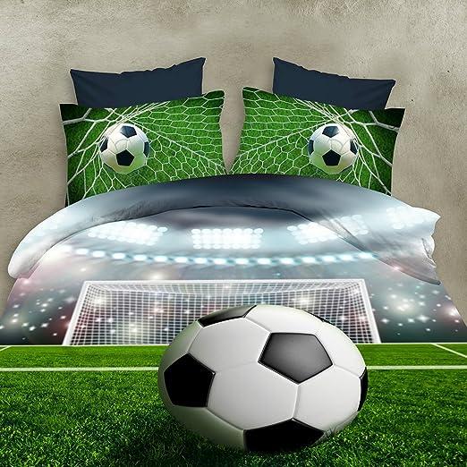 Zantec 4 PCS Juegos de cama de fútbol 3D Edredón Funda nórdica + Sábana + Funda de almohada Artículos del hogar de la personalidad creativa: Amazon.es: Hogar