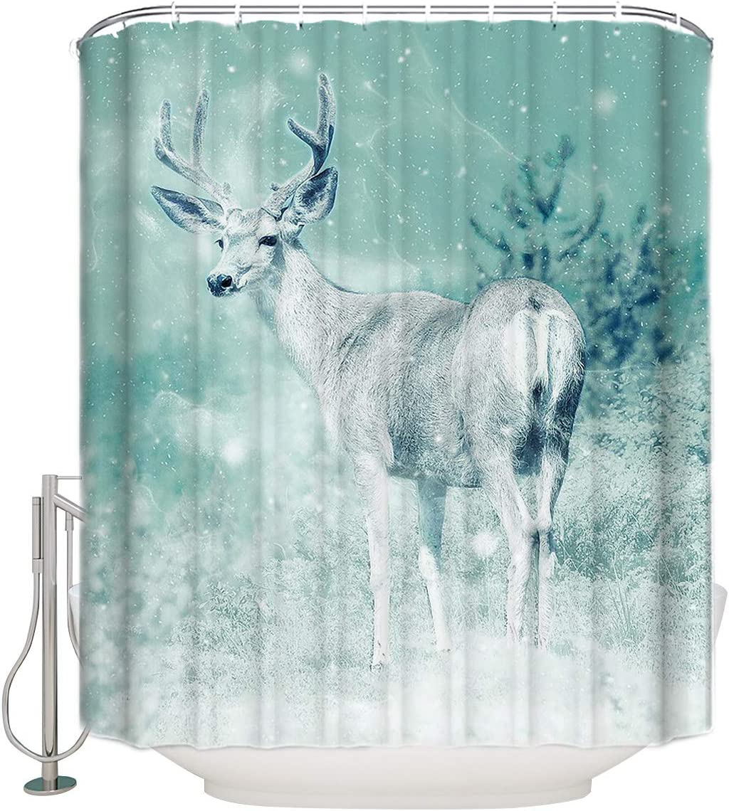 Z&L Home Wild Animal Deer Shower Curtains for Bathroom Decor Fantasy Snowing Field Polyester Fabric Waterproof Bath Curtain Set with Hooks 72×84Inch