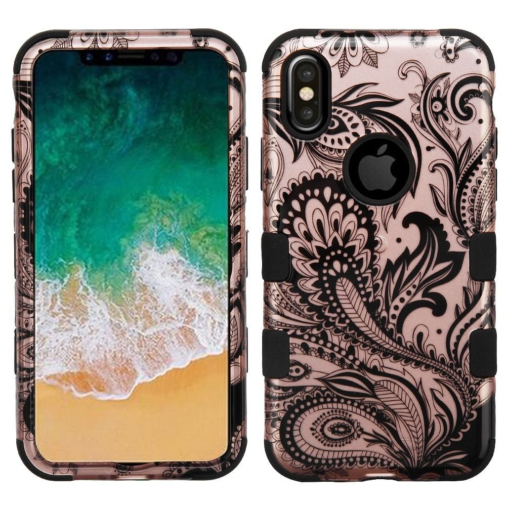 iPhone X Case, Mybat Tuff Dual Layer [Shock Absorbing] Protection Hybrid PC/TPU Rubber Case Cover For Apple iPhone X, Rose Gold/Black Valor