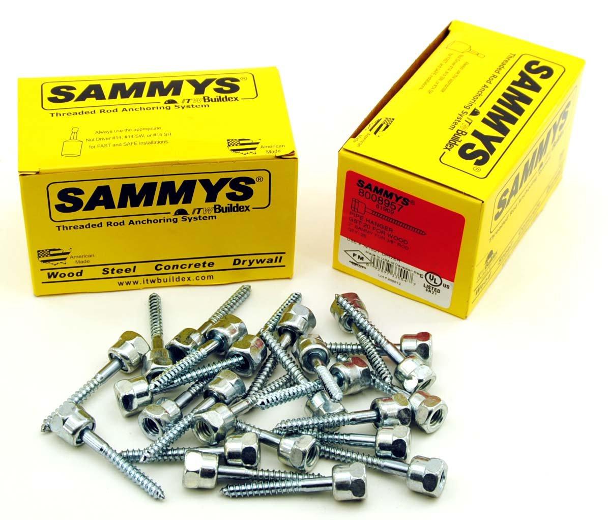 (25) Sammys 3/8-16 x 2 Threaded Rod Hanger for Wood 8008957
