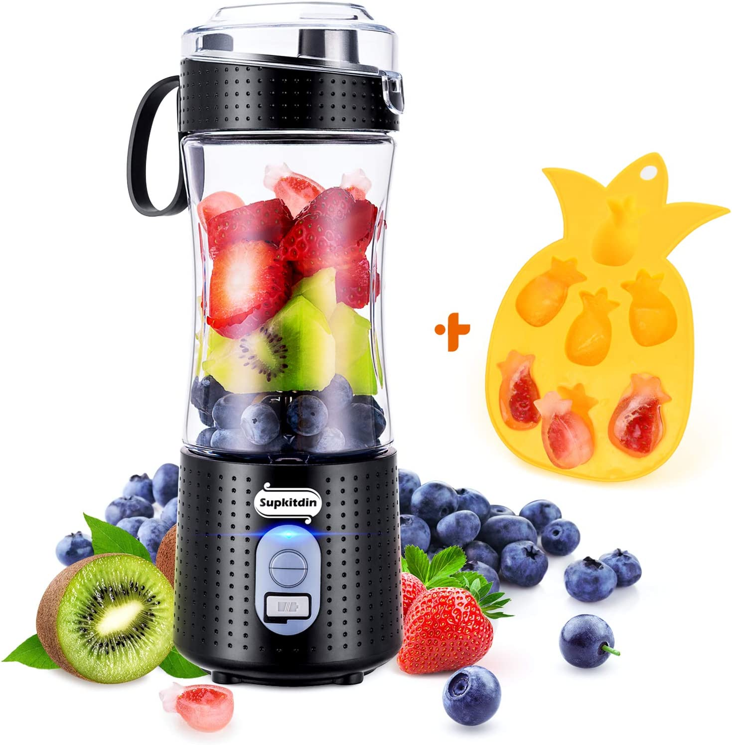 Supkitdin Portable Blender, Personal Mixer Fruit Rechargeable with USB, Mini Blender for Smoothie, Fruit Juice, Milk Shakes, 380ml, Six 3D Blades for Great Mixing (Black)