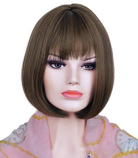 Alta calidad corto Natural marrón peluca recta peluca Bob para mujer disfraz con peluca