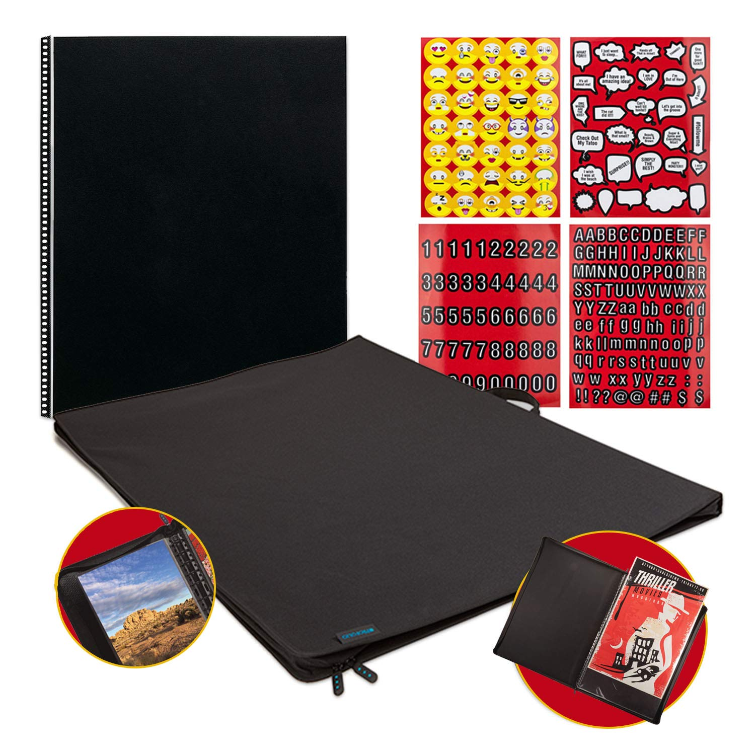 Itoya ProFolio Poster Binder 24'' x 36'' Presentation Storage Display Portfolio + Refill Pages + Emoji Stickers by ITOYA