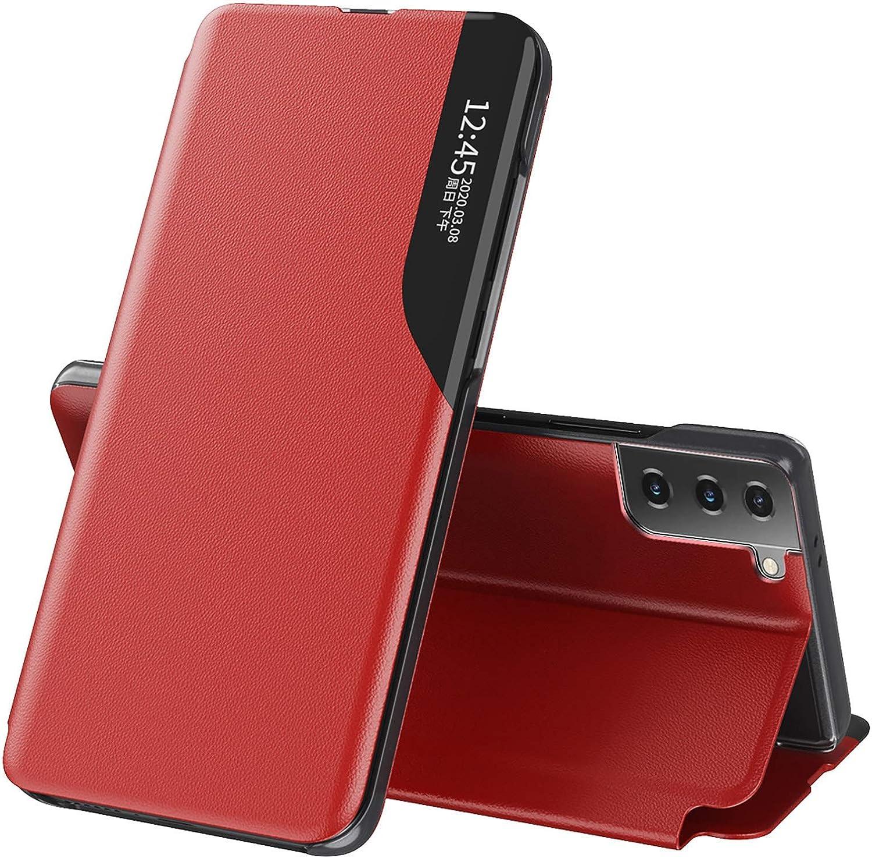 LORDZMIX Flip Cuero Funda para Samsung Galaxy S21 Ultra 5G Cáscara, Ultra Delgado Inteligente Funda [360° Protection] [Soporte Plegable] [Anti-Scratch] Flip Case Cover