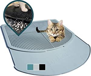 DzelCat SpreadZtrap Cat Litter Mat - Disinfectable ABS Plastic Litter Catcher Tray for Cats & Dogs - Waterproof 16