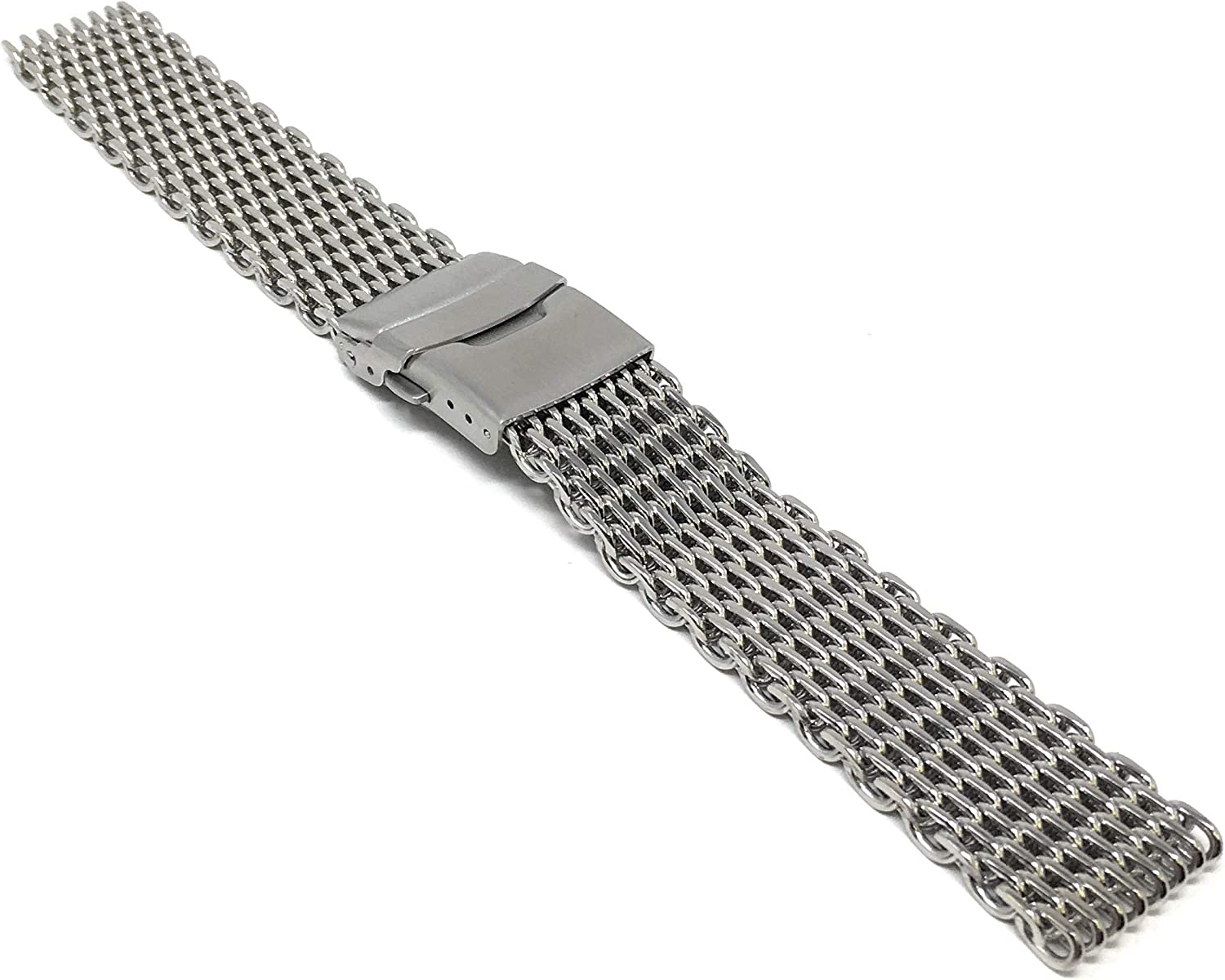 Bandini Stainless Steel Shark Mesh Dive Watch Band Bracelet - Metal Shark Mesh Watch Strap - Milanese - Double Lock Button Diver Clasp, 20mm and 22mm