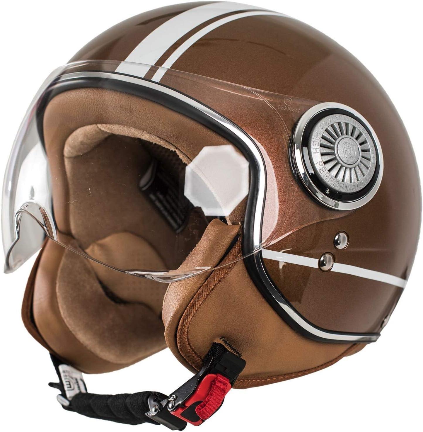 braun MONACO Jet-Helm mit Visier Roller-Helm f/ür Frauen und Herren im Vintage-Look Qualit/ät nach ECE-Norm Retro Pilot-Helm f/ür Brillen-Tr/äger Motorrad-Helm