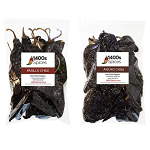 Mexican Chiles 2 Pack Pasilla and Ancho 8oz each, Natural Whole Dried Chili Peppers, Intense Taste and Flavor, 8oz per Bag. Heat-Sealed Resealable Bag