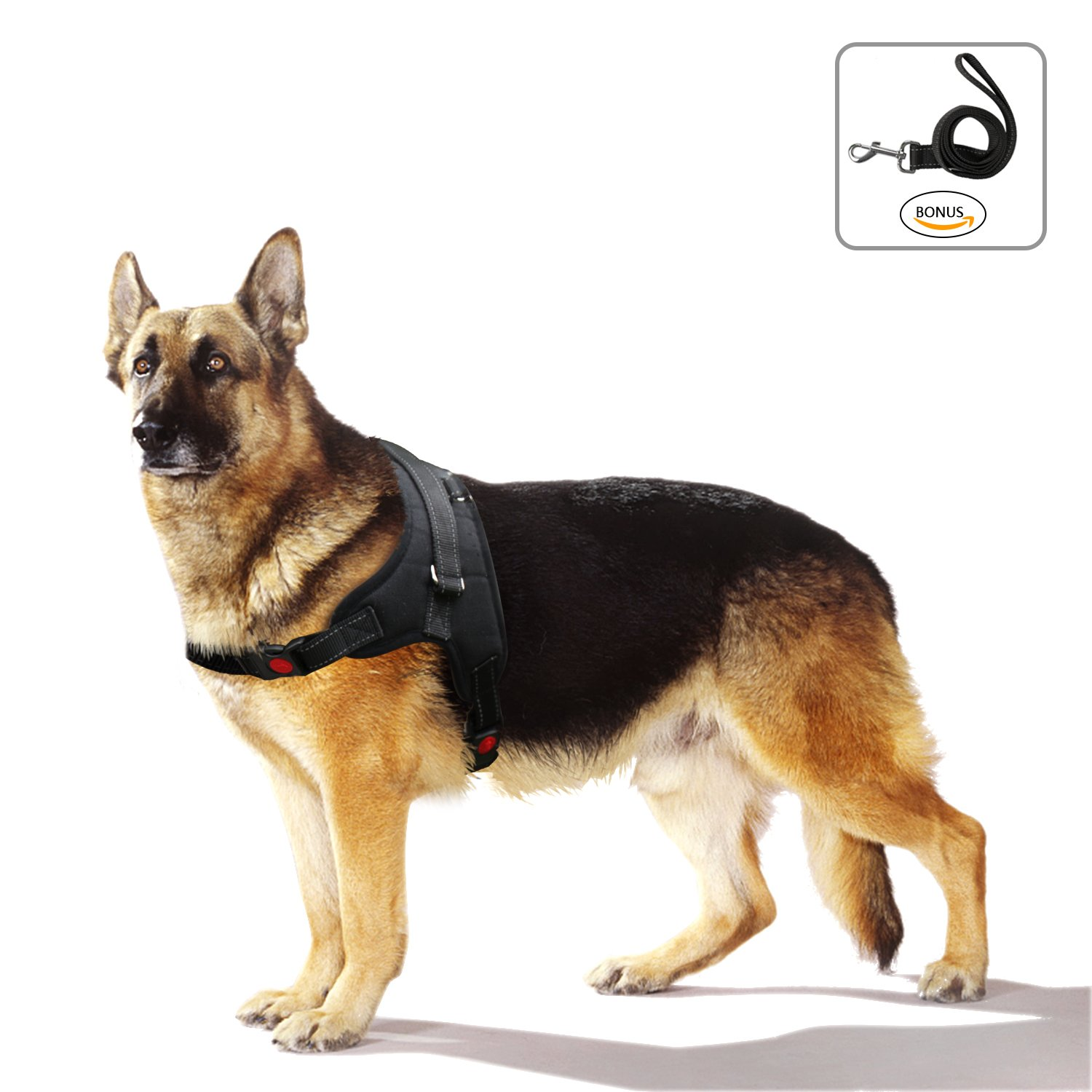 Dog Harness No-Pull Pet Harness - Adjustable Padded Reflective Pet Vest with Handle & Dog Leash Set - Easy Control for Small Medium Large Dogs - Perfect for Daily Training Walking Running (Medium)