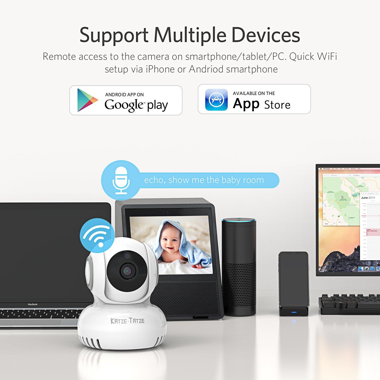 Katze-Tatze WiFi Camera, Baby Monitor WiFi Home Surveillance IP Camera Baby/Pet/Nanny Monitor, Work Echo Show Alexa, 2-Way Audio & Night Vision, Pan/Tilt, Motion Detect by Katze-Tatze (Image #5)