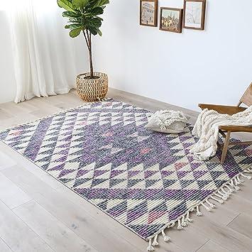 BAGEHUA Maßgeschneiderte Moderne Marokkanischen Stil Handgewebte Wohnzimmer  Schlafzimmer Couchtisch Teppich, 160 × 230 Cm,