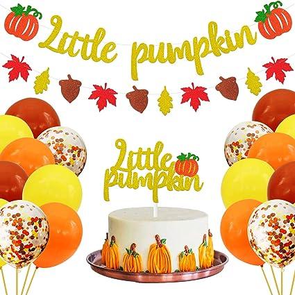 Pumpkin One Cake Topper Pumpkin First Birthday Banner Fall Themed Kids Girls Little Pumpkin Birthday Party Supplies for Baby Shower 1 st Birthday Pumpkin 1 st Birthday Decorations Kit