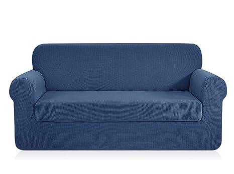 CHUN YI Fundas de sofá Jacquard, 2 Piezas, poliéster, Tela de Licra, elásticas, Azul Vaquero, Sofa