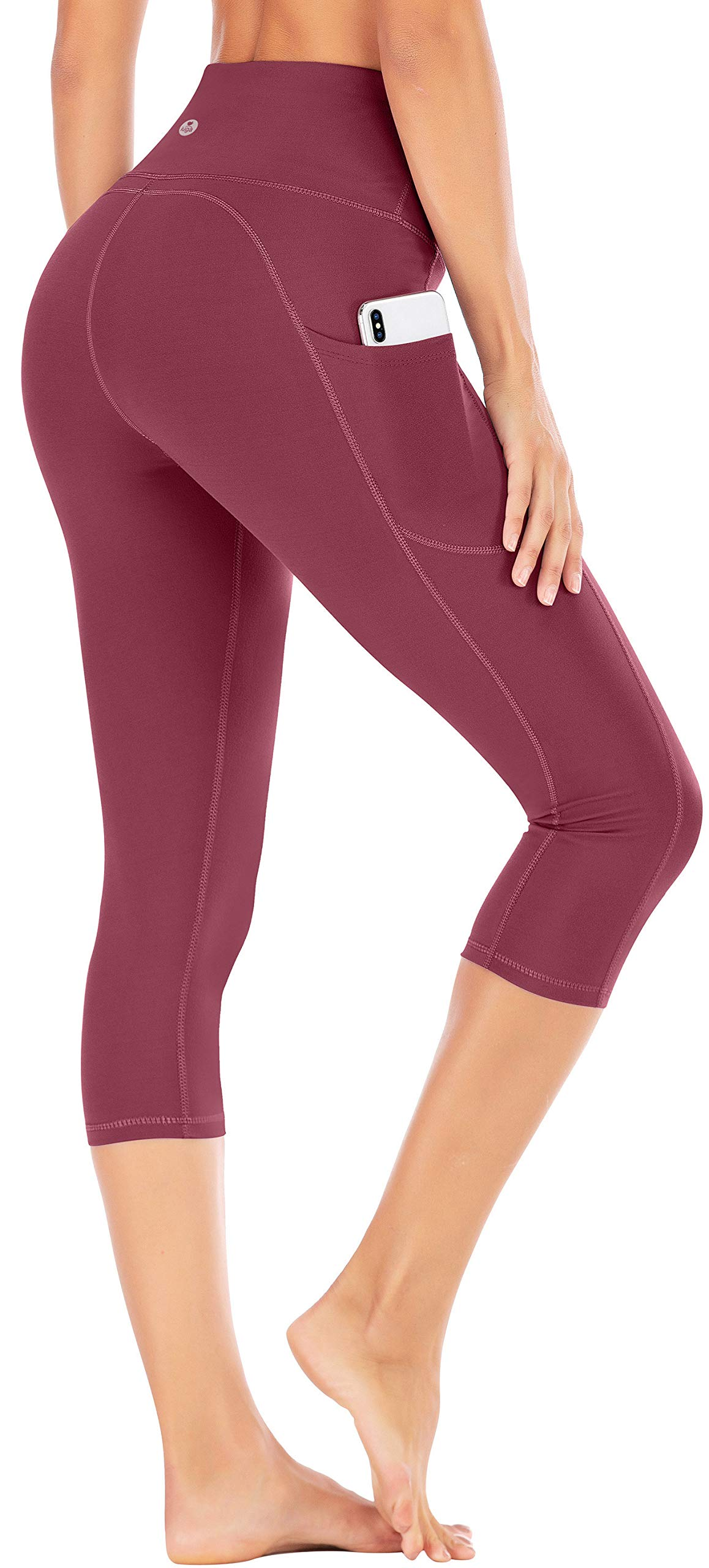 IUGA High Waist Yoga Pants with Pockets, Tummy Control Yoga Capris for Women, 4 Way Stretch Capri Leggings with Pockets(Maroon, XS) by IUGA