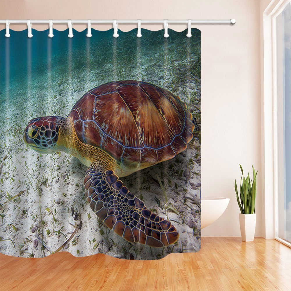 Amazon Rrfwq Ocean Decor Underwater Sea Turtle Shower Curtain Polyester Fabric Waterproof Bath Curtains Hooks Included 708X708 In