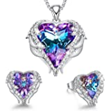 CDE White-Gold-Plated-Base Heart-Shape Round-Shape Purple Blue Yellow NA No Size A_White Gold Plated | Purple