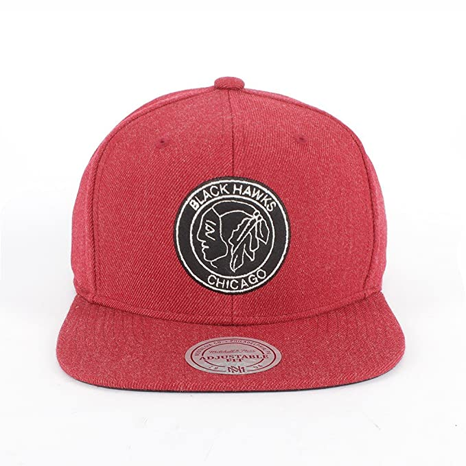 df2e9a29a1c2a Mitchell   Ness Chicago Blackhawks Team Heather Snapback Gorra - talla  única - burgundy black