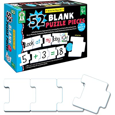 Carson Dellosa Key Education Write-On/Wipe-Off: 52 Blank Puzzle Pieces Manipulative (846039): Game: Office Products