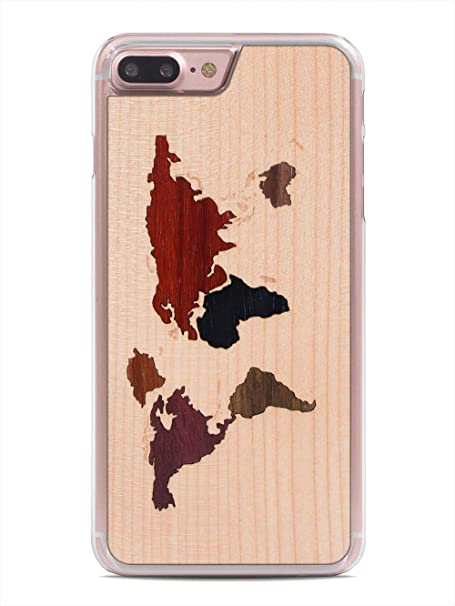 Amazon iphone 7 plus world map inlay wood clear case by carved iphone 7 plus world map inlay wood clear case by carved unique real wooden phone gumiabroncs Choice Image