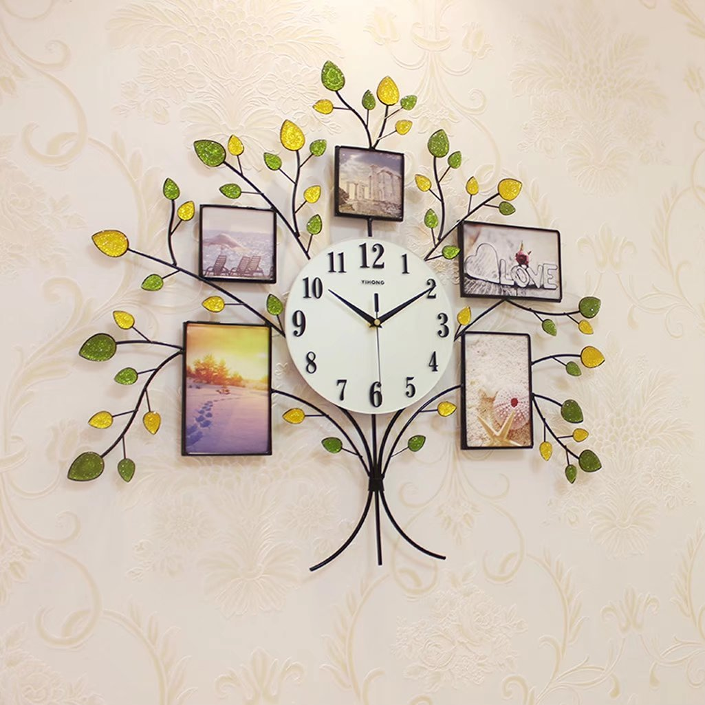 アメリカ式 ファッション 木の形 フォトフレーム 可愛い 石英時計 デザイン 数字時計 掛け時計 壁掛け インテリア オフィス 子供部屋 リビング おしゃれ デジタル 電池式 静音 B0752JX2BK