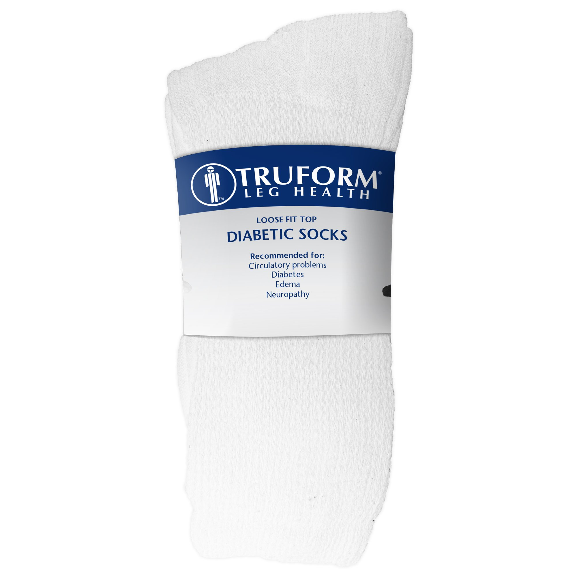 Truform Diabetic Socks Loose Fit, Medical Style, 3 Pairs, White by Truform (Image #5)