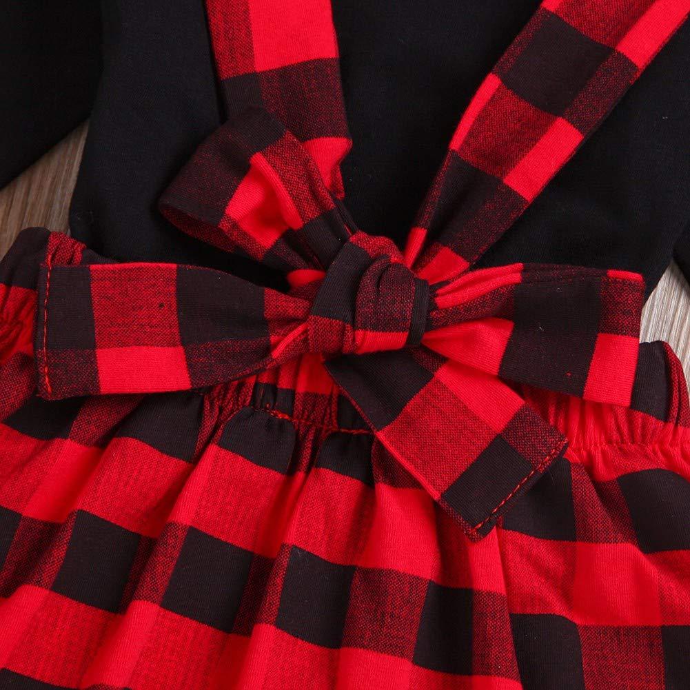 Einfarbig Langarmshirts Top T-Shirt Kleidung f/ür M/ädchen 1-4 Jahre Miyanuby Neugeborenes Baby M/ädchen Kleider Plaid Floral Rock