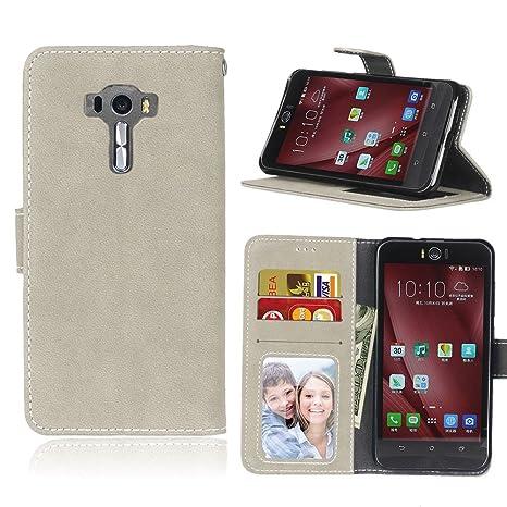 pinlu® Funda para ASUS Zenfone 4 Selfie Pro ZD552KL (5.5 Pulgada) Función de Plegado Flip Wallet Case Cover Carcasa Piel Retro Scrub PU Billetera ...