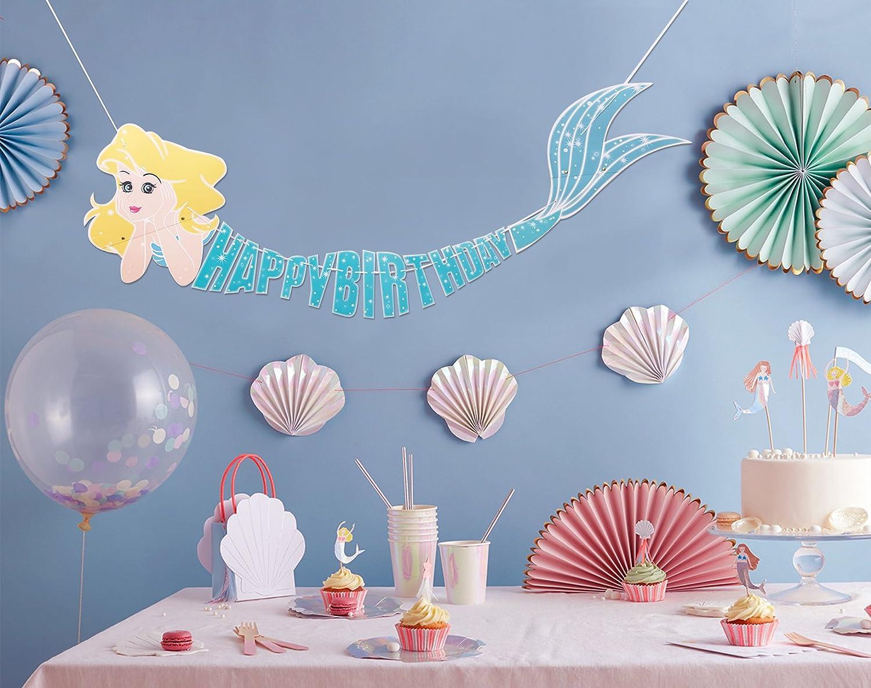 Amazon.com: Pancarta de feliz cumpleaños de sirena bajo el ...