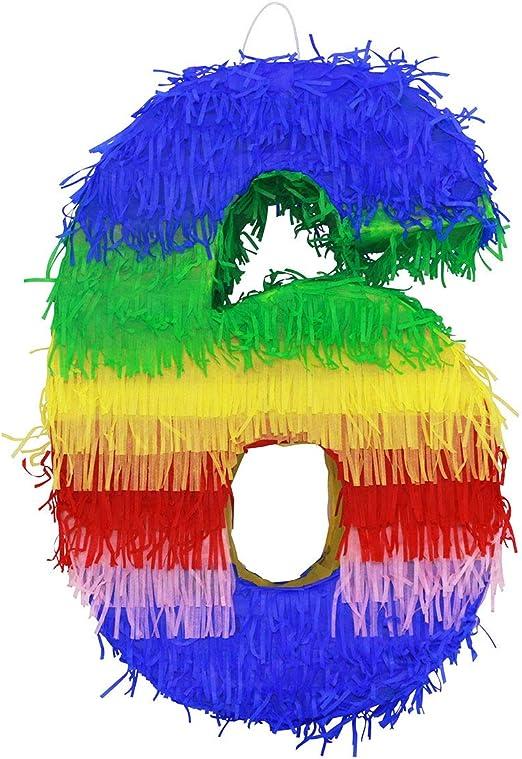 Amazon.com: Festive Colorido número seis Piñata Piñata ...