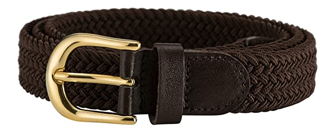 8ef793a2b84cf STREEZE Ladies Stretch Belts - Elasticated Woven Braided Fabric. 1 inch Wide  with Gold Buckle